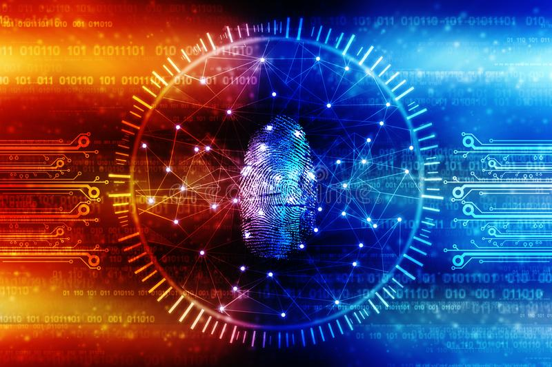 Cyber Security Concept, Concept of Internet Security, Fingerprint on digital background. Security concept: fingerprint Scanning on digital screen. 3d render royalty free stock photography