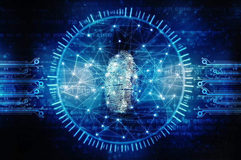 Cyber Security Concept, Concept of Internet Security, Fingerprint on digital background. Security concept: fingerprint Scanning on digital screen. 3d render royalty free stock photos