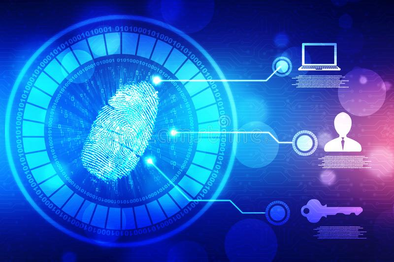 Fingerprint Scanning on digital screen, Security background royalty free illustration