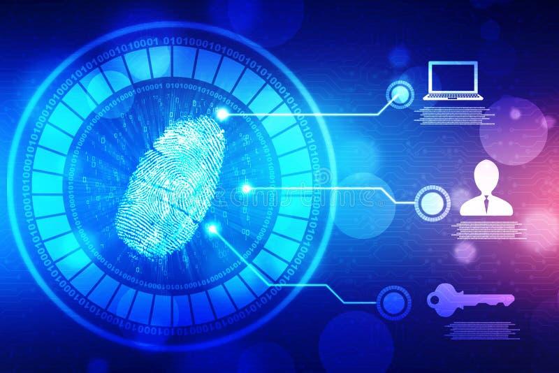 Fingerprint Scanning on digital screen, Security background royalty free illustration