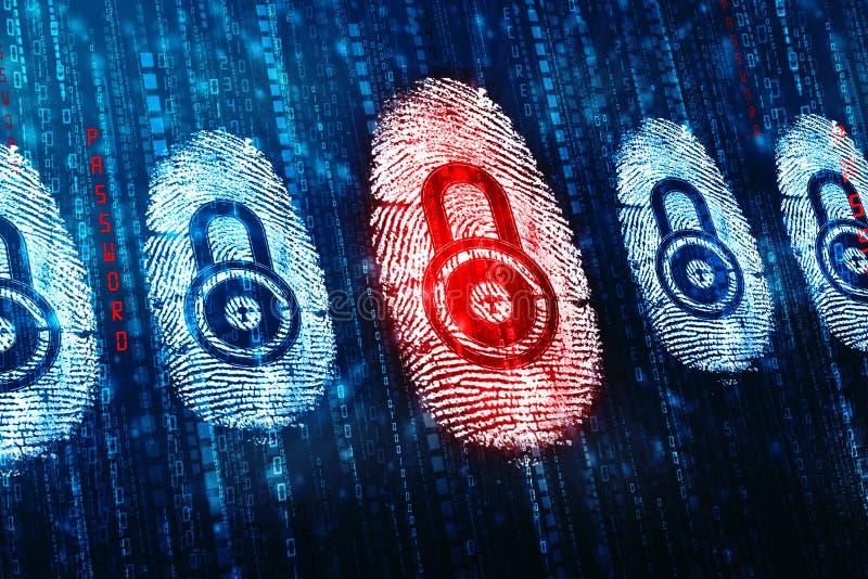Fingerprint Scanning on digital screen, Security background. Security concept: fingerprint Scanning on digital screen, Internet Security Background stock images