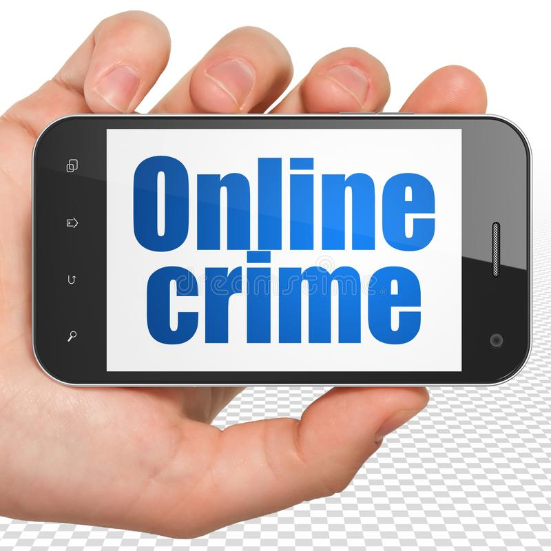 Security concept: Hand Holding Smartphone with Online Crime on display stock images