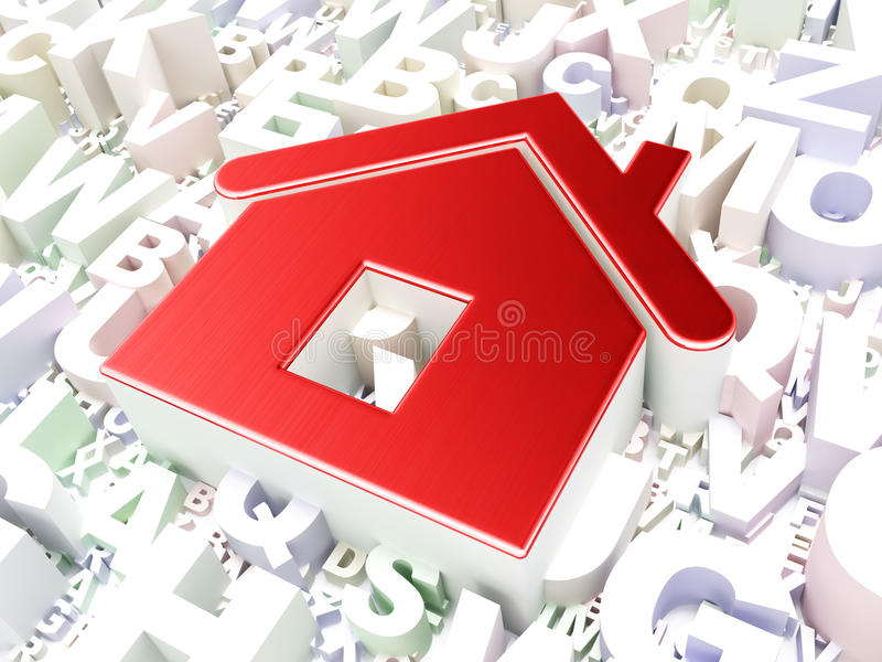 Security concept: Home on alphabet background. 3d render royalty free stock image