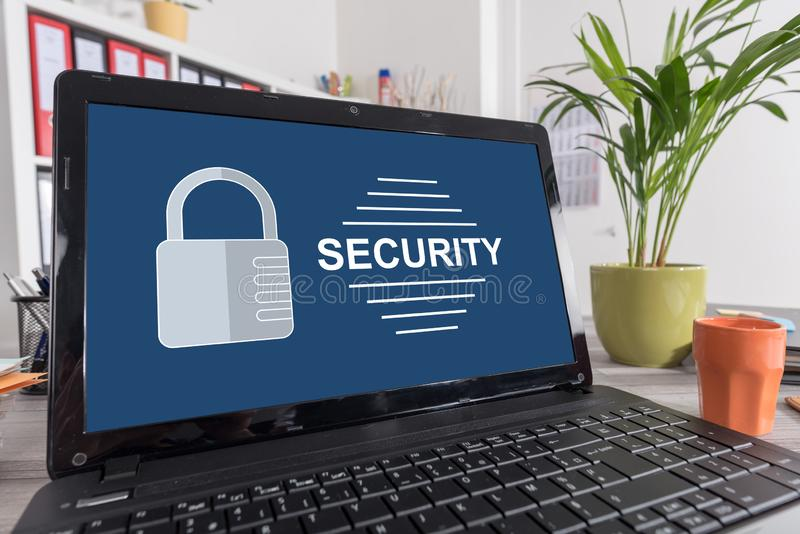 Security concept on a laptop. Laptop screen with security concept royalty free stock images