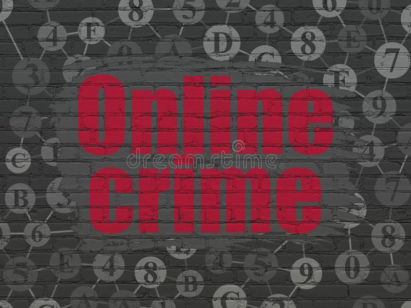 Security concept: Online Crime on wall background. Security concept: Painted red text Online Crime on Black Brick wall background with Scheme Of Hexadecimal Code vector illustration