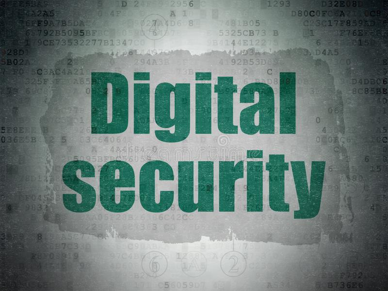 Security concept: Digital Security on Digital Data Paper background. Security concept: Painted green text Digital Security on Digital Data Paper background with vector illustration