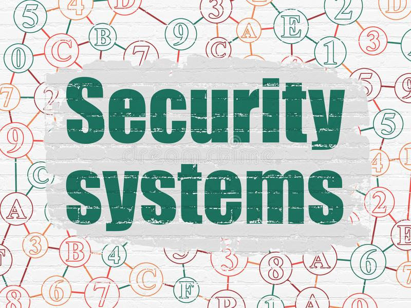 Security concept: Security Systems on wall background. Security concept: Painted green text Security Systems on White Brick wall background with Scheme Of vector illustration