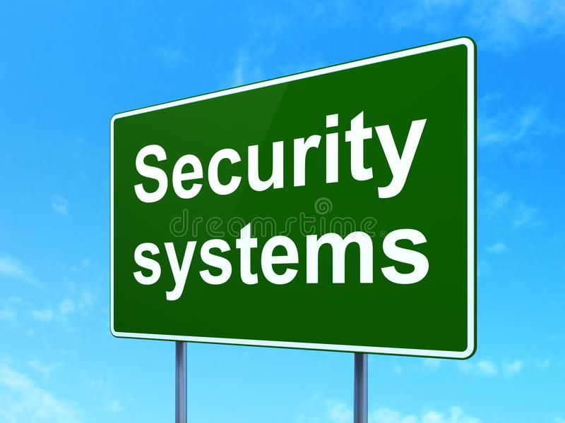 Security concept: Security Systems on road sign background royalty free stock photography
