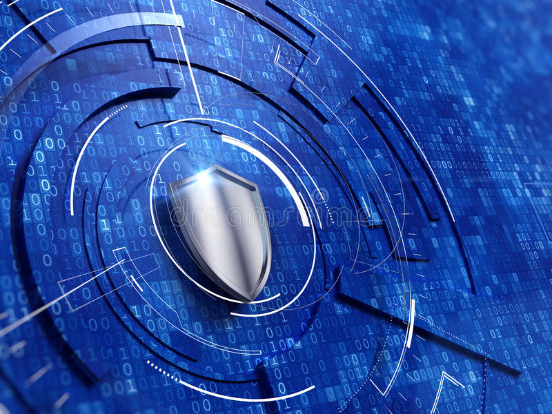 Security concept. Shield on digital code background royalty free illustration