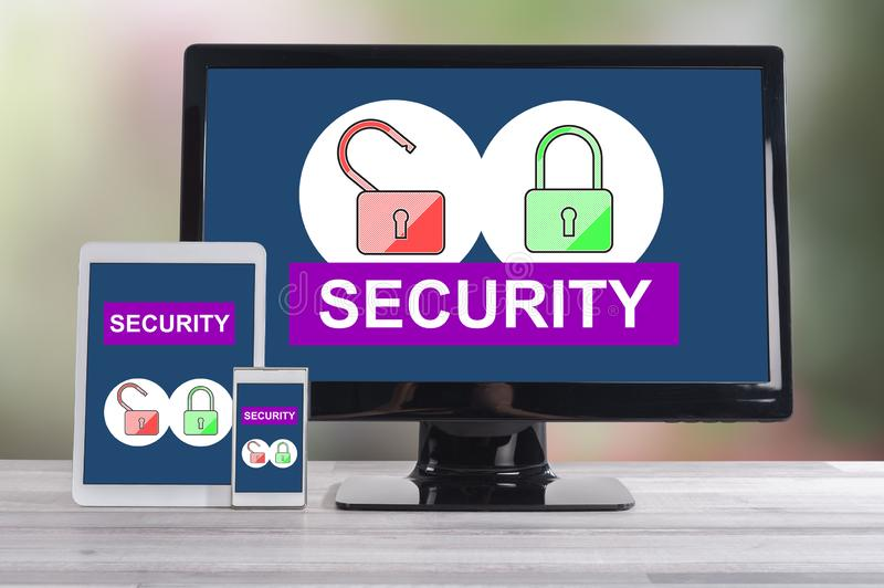 Security concept on different devices. Security concept shown on different information technology devices stock photos