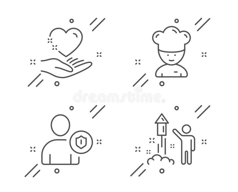 Security, Cooking chef and Hold heart icons set. Fireworks sign. Person protection, Sous-chef, Care love. Vector royalty free illustration