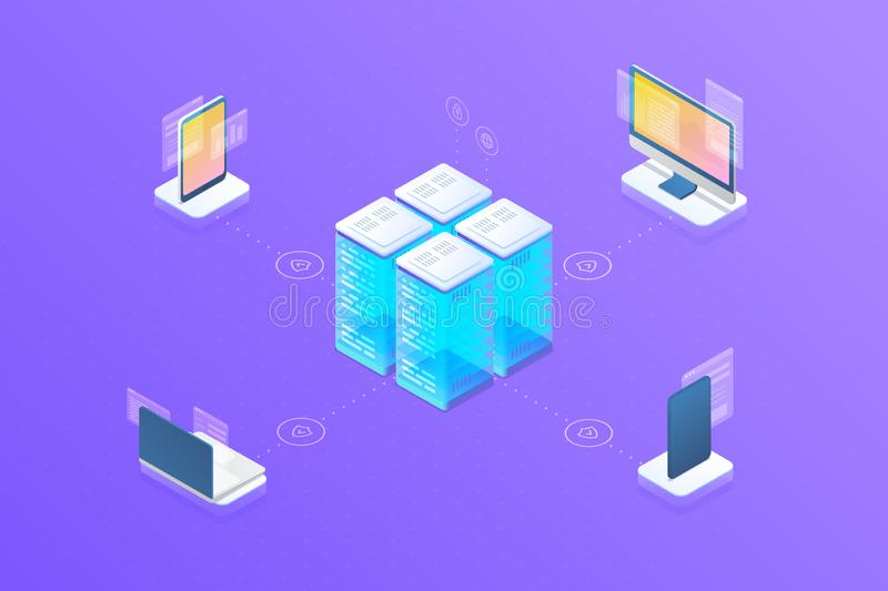 Security Data information protection sync synchronization devices with server. Isometric flat vector objects:  desktop computer. Monitor, smartphone mobile vector illustration