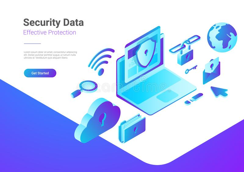 Security Data Protection Antivirus Laptop Cloud is royalty free illustration