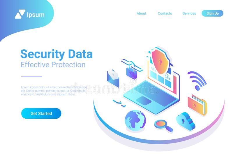 Security Data Protection Antivirus Laptop Cloud is. Security Data Protection Antivirus Anti spam illustration. Laptop Computer with Cloud Folder Mail Wifi Link stock illustration
