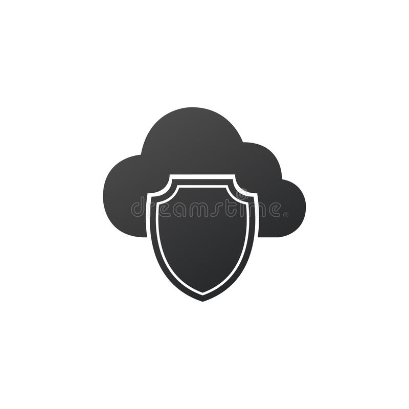 Security and data protection, cloud and shield. cyber security, antivirus concept. Vector illustration isolated on white royalty free illustration