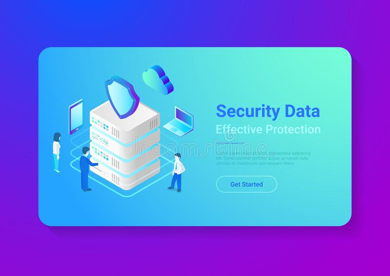 Security Data Protection Isometric Flat vector ill stock illustration