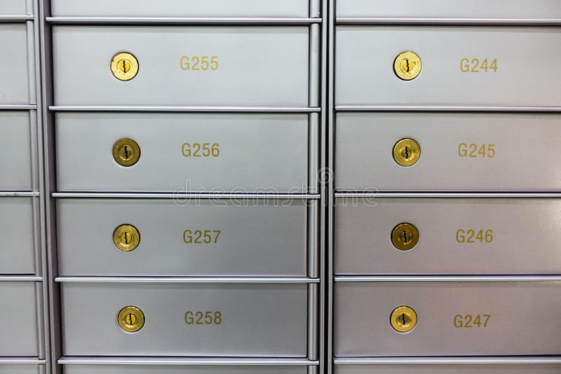 Security deposit box in a safe room. Useful for wealth, business, finance concepts stock photos