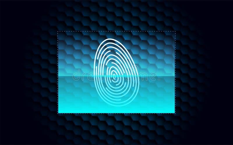 Digital Fingerprint Scanning Pass dark blue background Version 2 stock illustration
