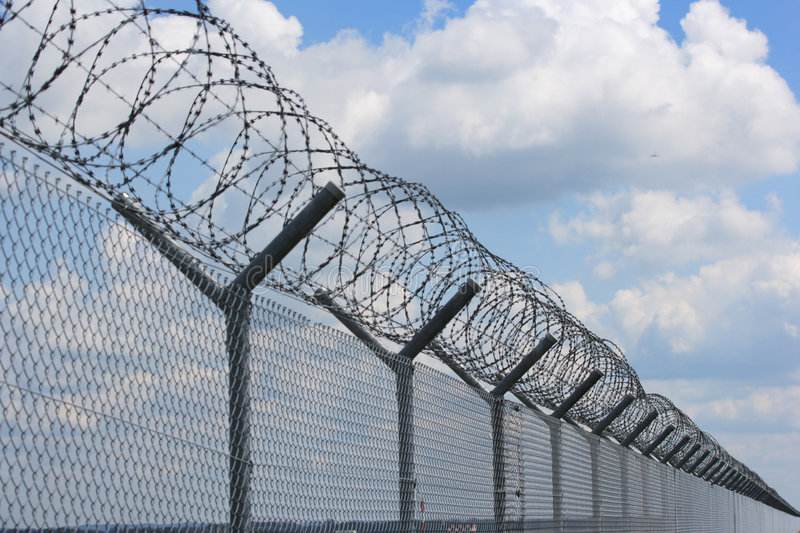 Security fence. At munich airport stock images