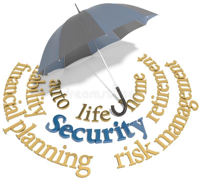 Security Financial Planning Umbrella Words Stock Illustration