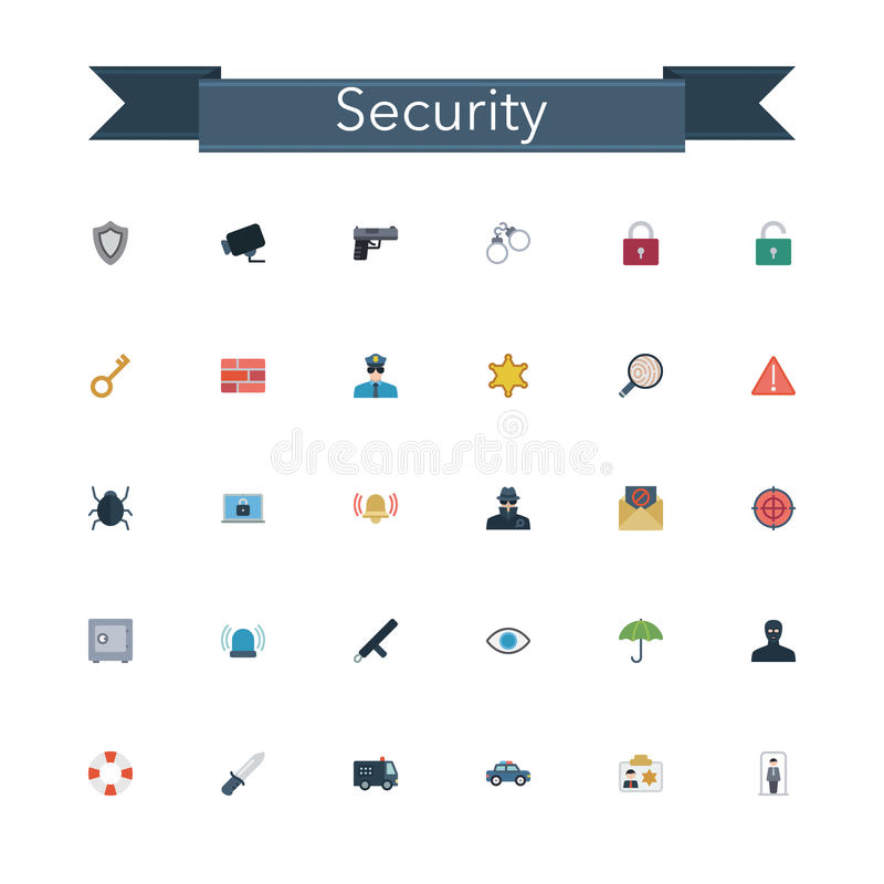 Download Security Flat Icons stock vector. Illustration of evidence - 60752946