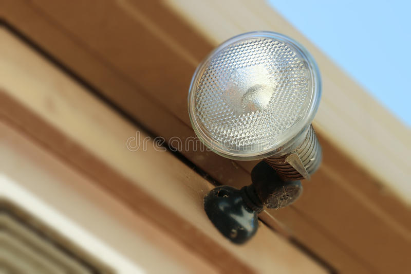 Security flood light on building exterior royalty free stock images