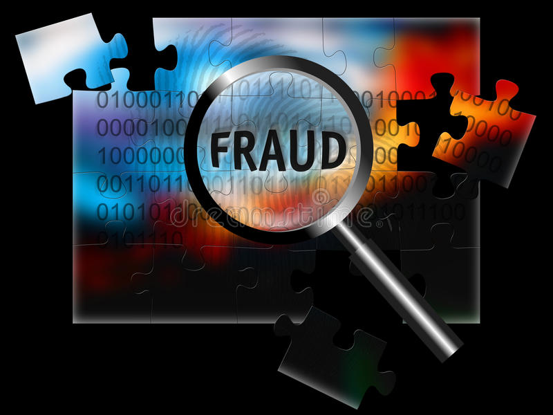 Security Fraud. An image for the concept of focus on security and fraud with a finger print, rows of digital stream letters and numbers under a magnifying glass vector illustration
