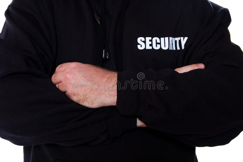 Security. A fronty view of security man stock image