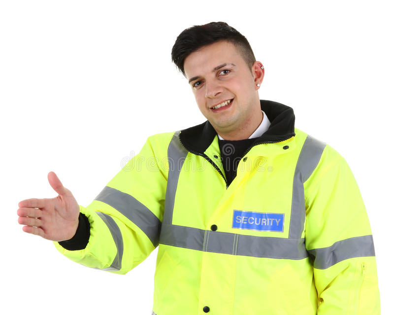 Security guard. A security guard offering a handshake, isolated on white royalty free stock image