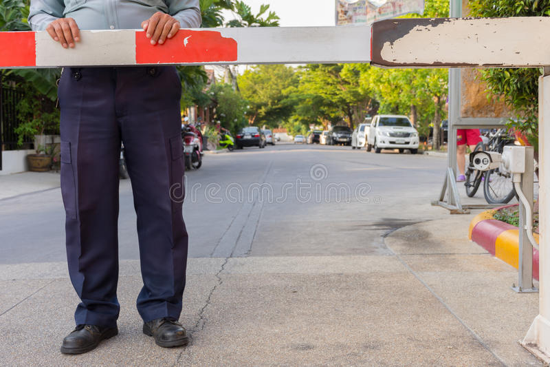 Security guard with barrier gate stock images