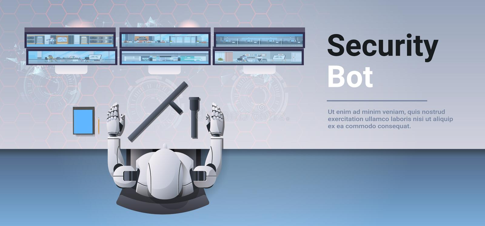 Security guard bot looking monitor screen robot monitoring cctv cameras artificial intelligence concept top angle. Desktop view surveillance security system royalty free illustration