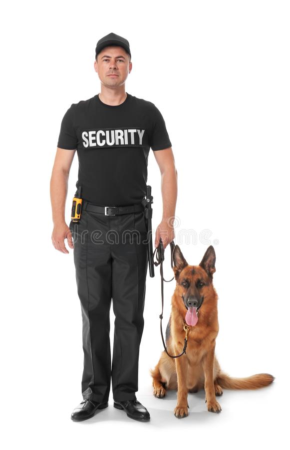 Security guard with dog. On white background stock images