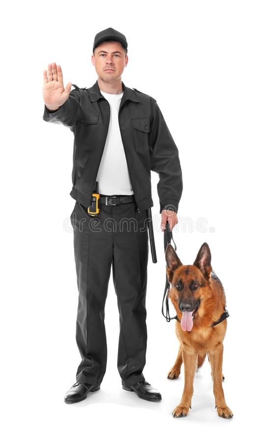 Security guard with dog. On white background stock photography