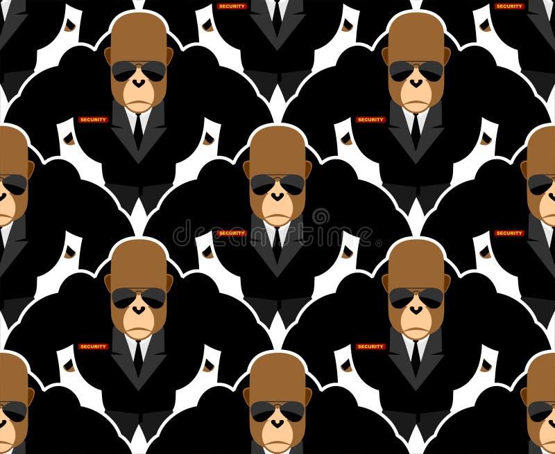 Security guard monkey seamless pattern. Bodyguards Gorilla Vecto royalty free illustration