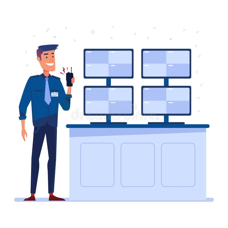 Security guard with portable radio in front of the screens. royalty free illustration