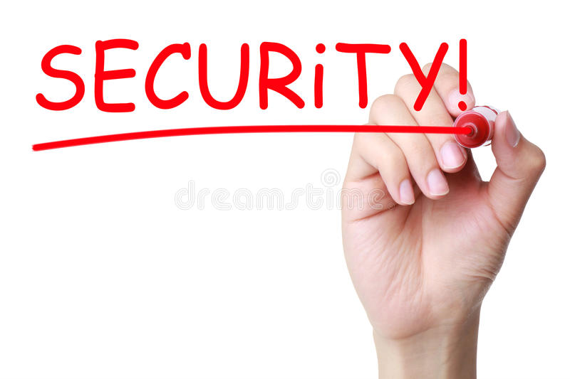 Security Headline. Headline security written by red marker over white background royalty free stock photos