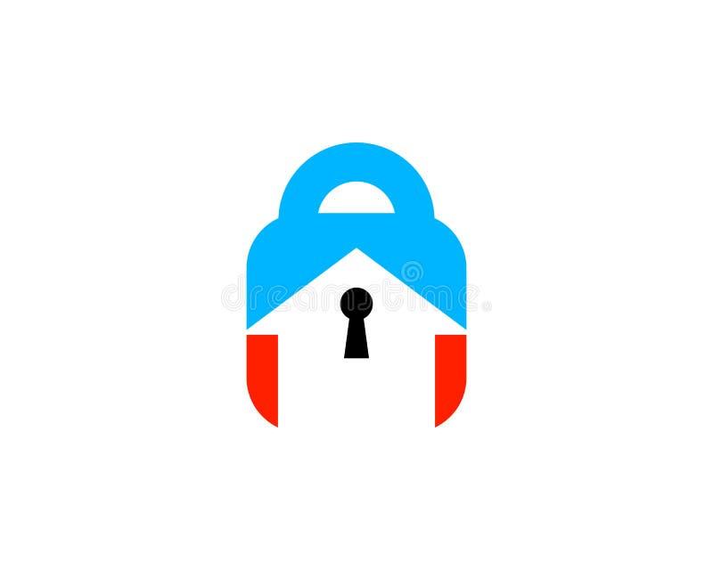 Security House Lock Icon Logo Design Element stock illustration