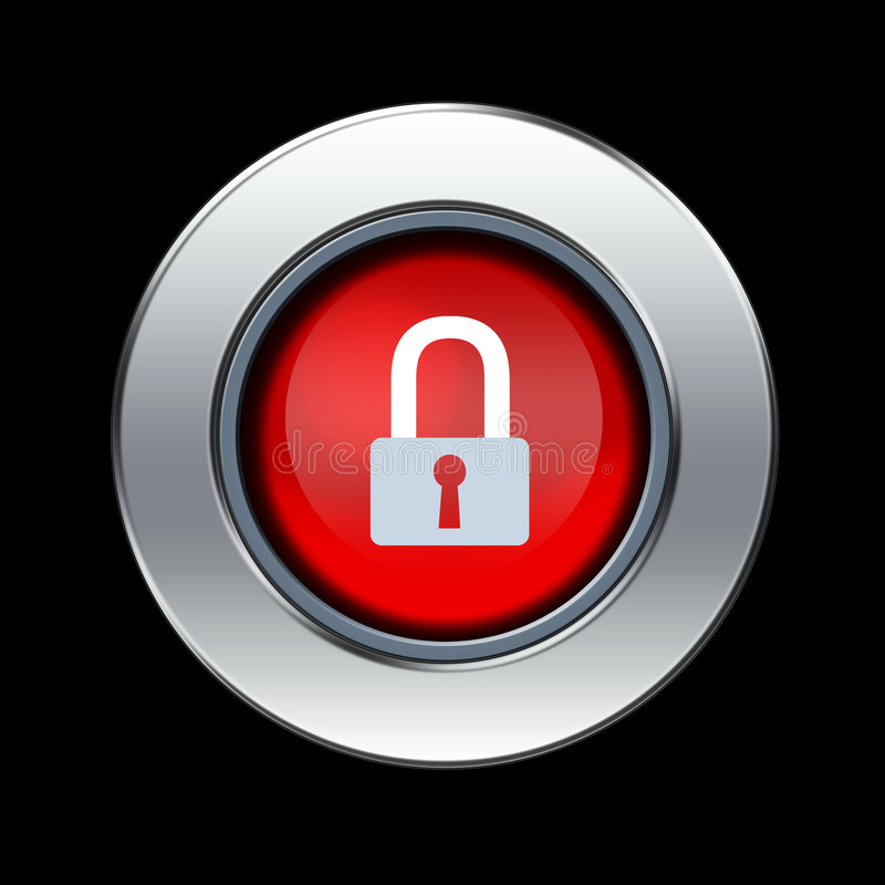 Security icon. With metal border over black background vector illustration