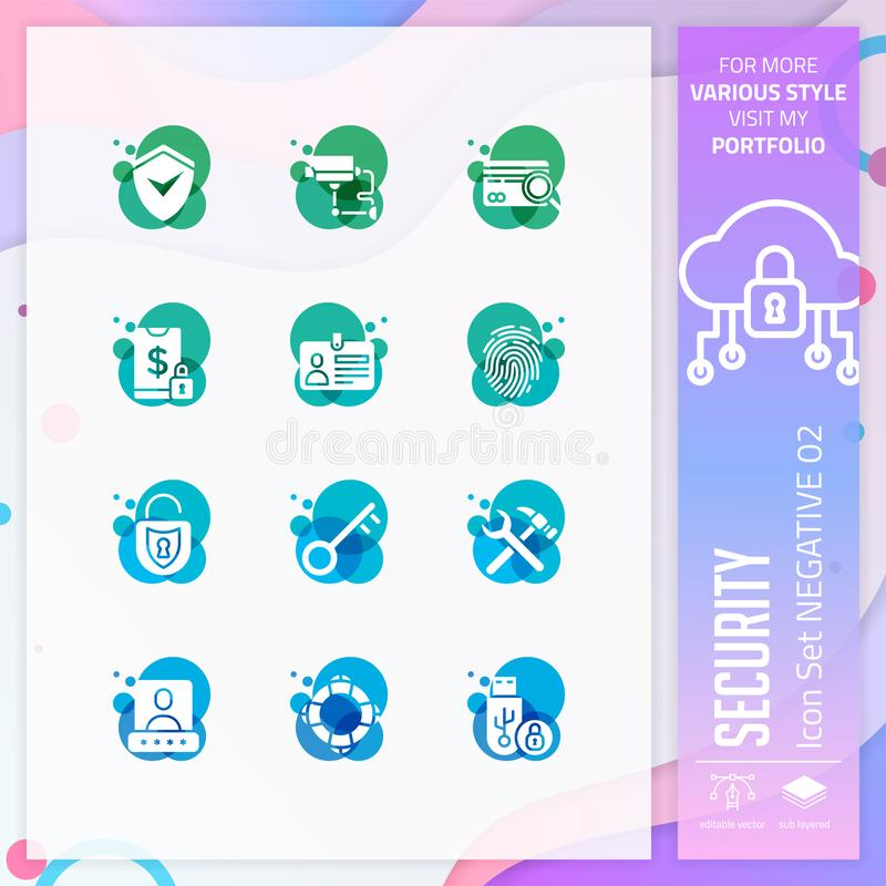 Security icon set vector with negative on colorful concept. Business icon for website element, app, UI, infographic, print stock illustration