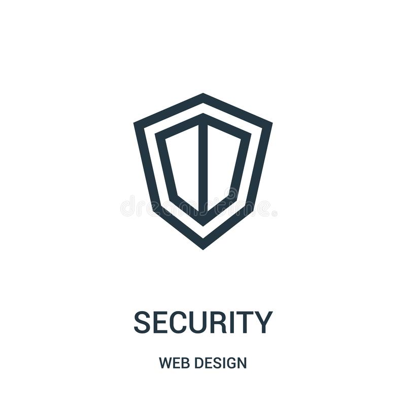 Security icon vector from web design collection. Thin line security outline icon vector illustration. Linear symbol for use on web and mobile apps, logo, print stock illustration