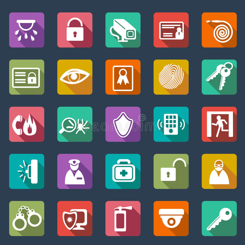 Security icons- flat design stock illustration