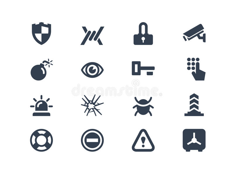 Security icons. Isolated on white