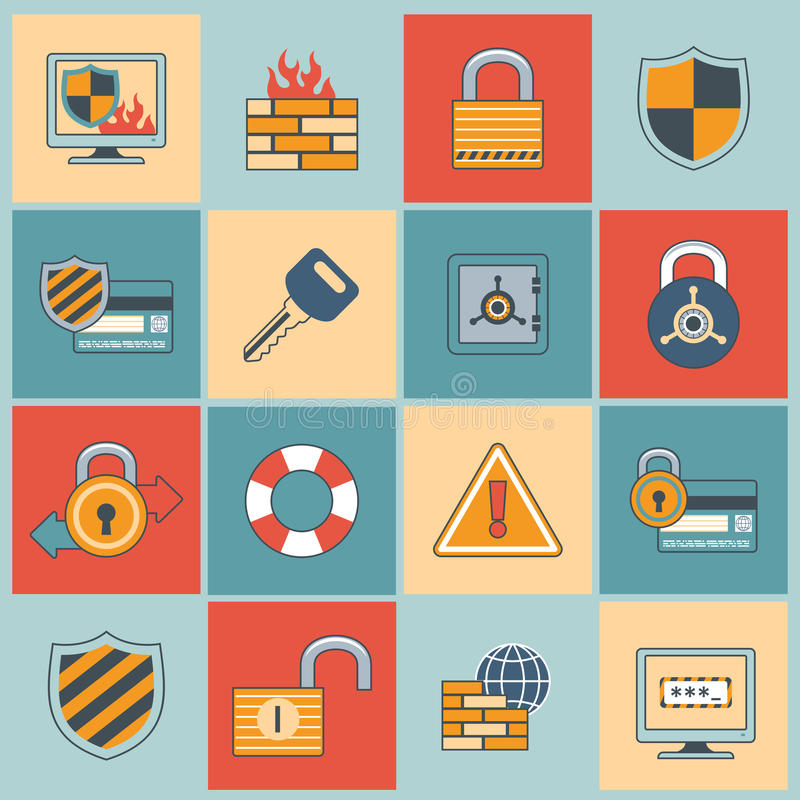 Security icons set flat line. Security computer network data safe mobile secure flat line icons set isolated vector illustration stock illustration