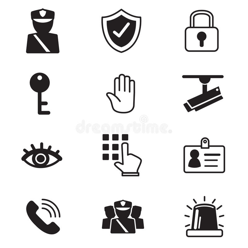 Security icons set stock illustration