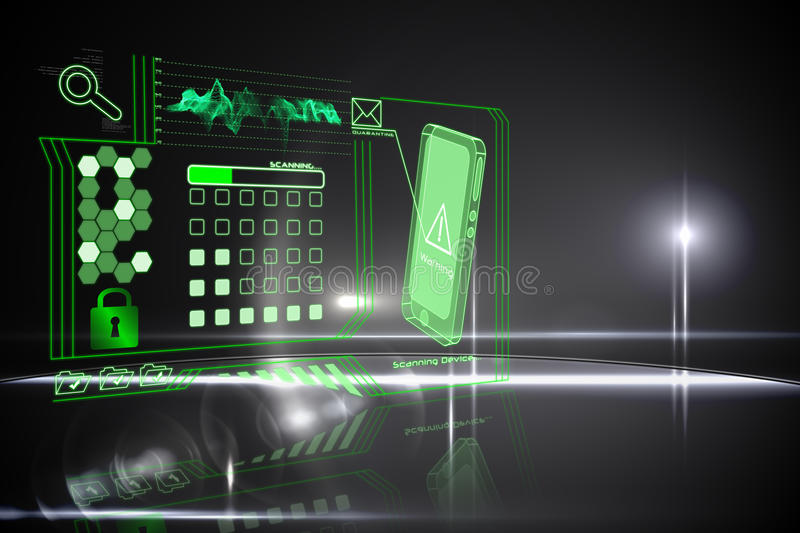 Security interface. In black and green stock illustration