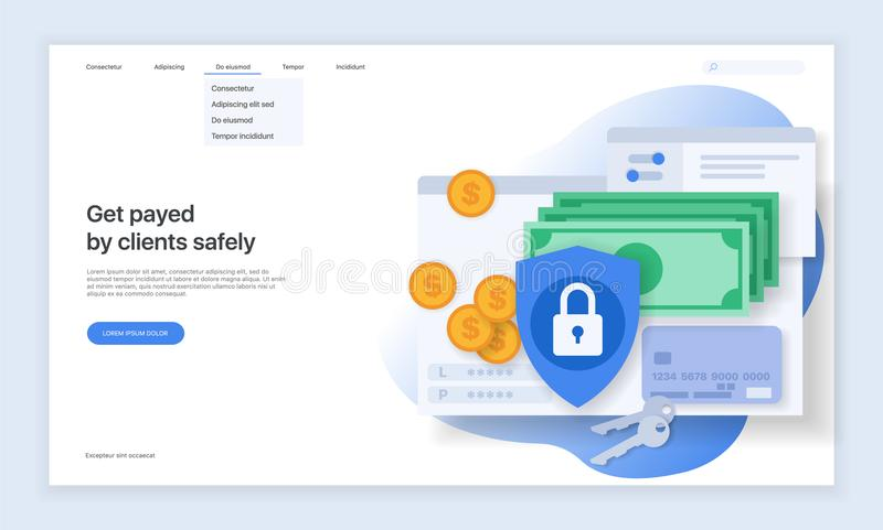 Security on the Internet and data protection. Design of the main page of the website. royalty free illustration