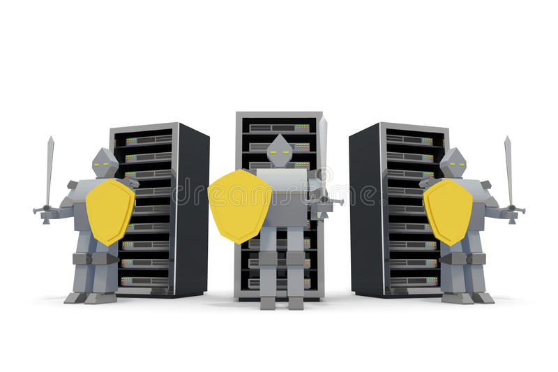 Security / Internet / server. Warrior to protect the server. To manage the critical data. Computer which is connected to the Internet. To deal with malicious stock illustration