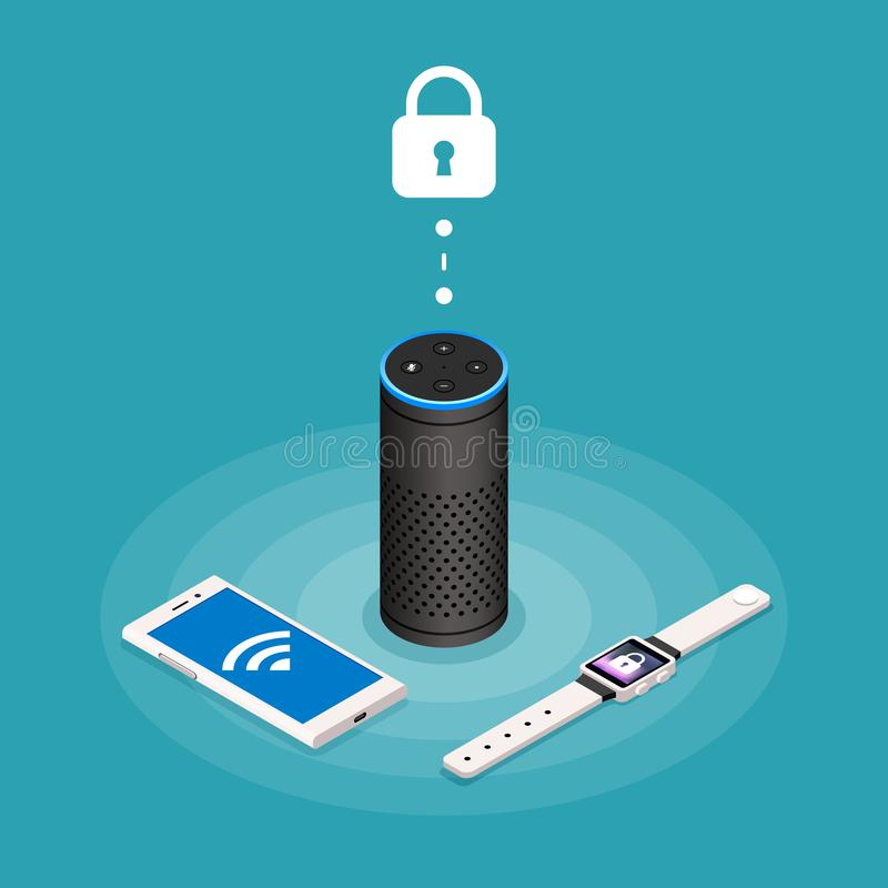 Security Internet of things isometric composition on turquoise background with assistant speaker, smartphone and watch royalty free illustration