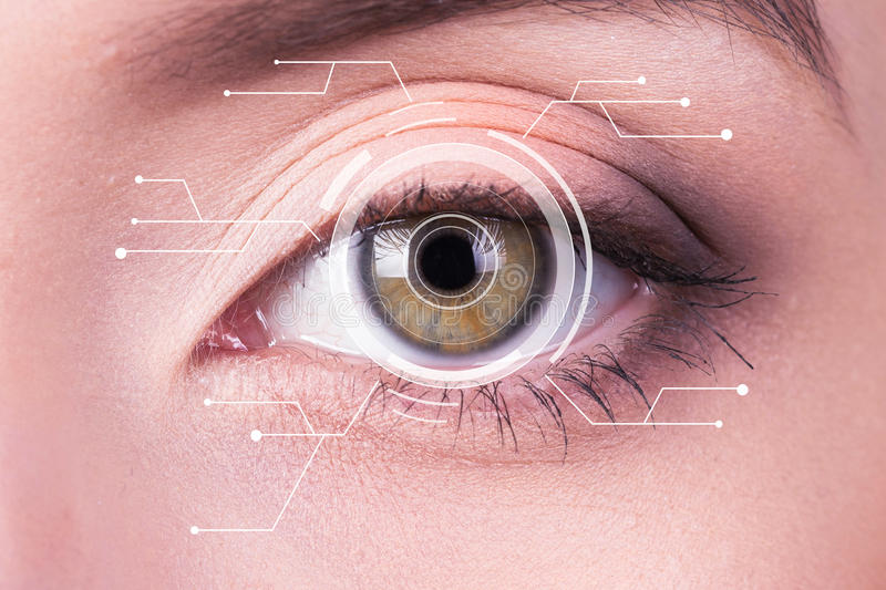 Security Iris or Retina Scanner being used on an Intense Macro Blue Human Eye, with Limited Palette. stock photography
