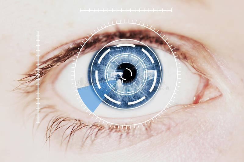 Security Iris Scanner on Intense Blue Human Eye. Abstract Security Iris or Retina Scanner being used on an Intense Blue Human Eye, Macro royalty free stock images